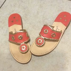 Jack Rogers Coral and Gold Sandals